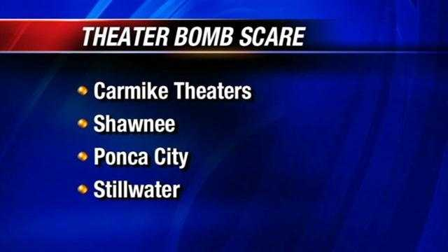 Police in three Oklahoma cities are investigating a bomb threat made against a nationwide movie theater chain.