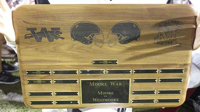Westmoore received the Trophy for its 12th straight time. A 62-14 win will be the next score inscribed.