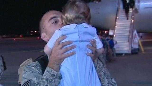 After a delay, airmen from Tinker Air Force Base reunited with their families Monday morning.