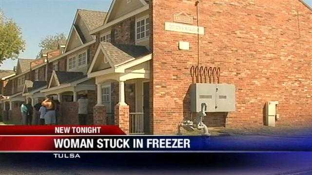 Police in Tulsa found an Oklahoma woman who may have climbed into a freezer late last week because she was afraid of severe weather.