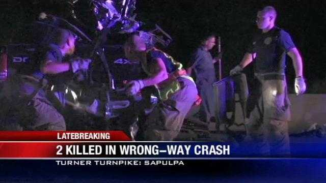A deadly crash involving three vehicles on Turner Turnpike shut down all westbound lanes for hours overnight.