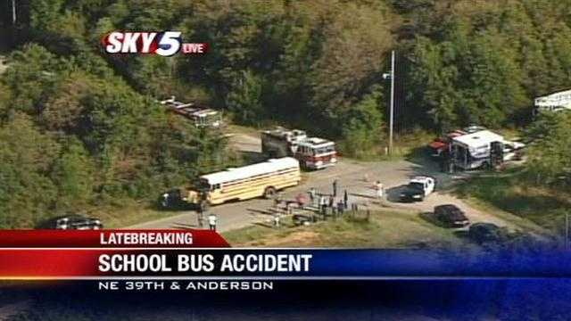 Sky5 is over the scene of a school bus crash at NE 39th and Anderson Road in northeast Oklahoma City.