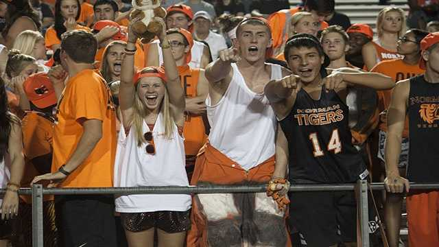 Norman fans filled the student section at Harve Collins again this week and showed their suport for Norman in their first district game of the season against Mustang.