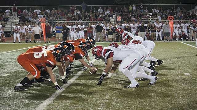Pre-snap photo of Norman Highs offense against Mustangs defense. The Tigers had no real problems giving the running game room and the passing game protection in their 56-35 win.
