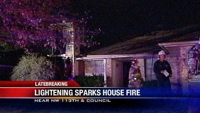 Firefighters were able to extinguish an overnight house fire caused by a lightning strike near NW 113th and Council.