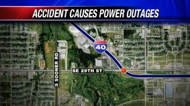 Car crash causes power outages in Del City, Midwest City