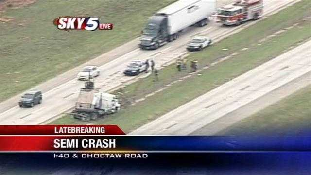 A crash between a semi and a car left the big rig jackknifed along I-40 on Wednesday. Sky5 was over the scene.