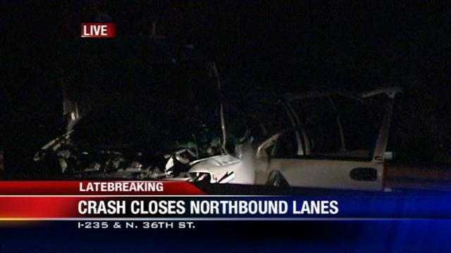 An early morning crash closed the northbound lanes of I-235 just before the morning commute Monday.
