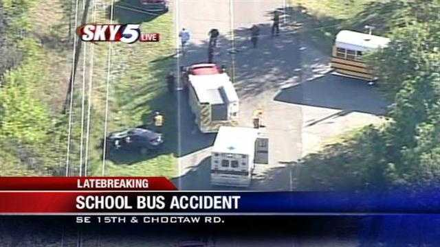 Sky5 is above the scene of a school bus wreck near Southeast 15th Street and Choctaw Road. KOCO's Paul Folger has the details.