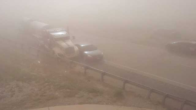 This photo comes to us from Stephen Gory, and it shows one of the dozens of wrecks caused by Thursday's dust storm in Kay County.