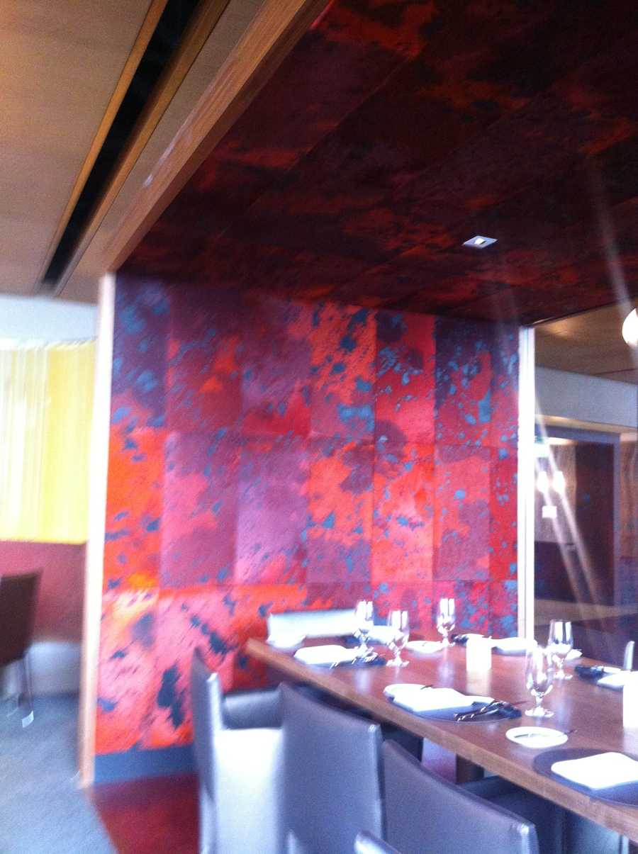 Red cowhide wall.