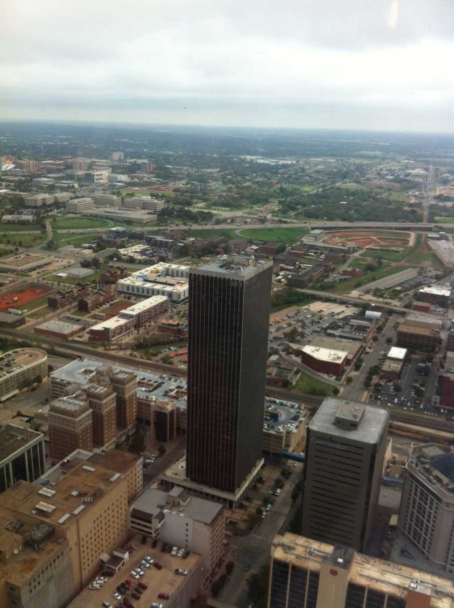 The Chase building dwarfed by the new Devon Tower.