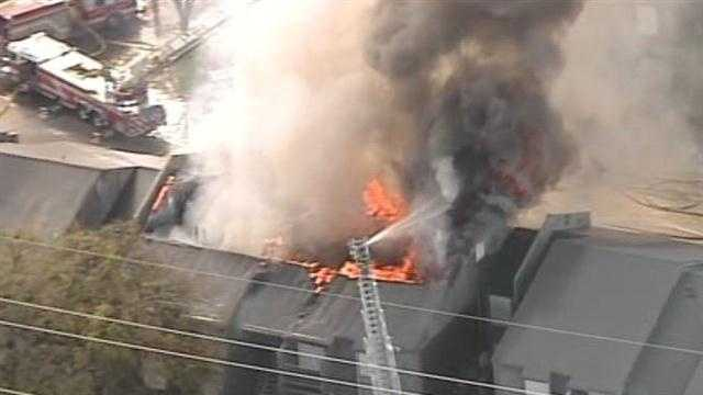 Firefighters say a two-story vacant apartment complex is ablaze in northwest Oklahoma City.