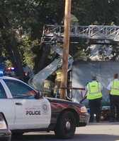 Emergency crews respond to a semi crash in northwest Oklahoma City.