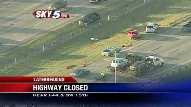 Sky5 is above the scene of a crash in southwest Oklahoma City on Tuesday.