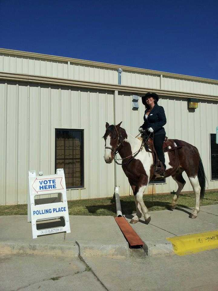 KOCO viewer Kathryn sends us this photo of her friend Shelly riding to the polls in Newalla. Send us your election day photos to ulocal@koco.com!!