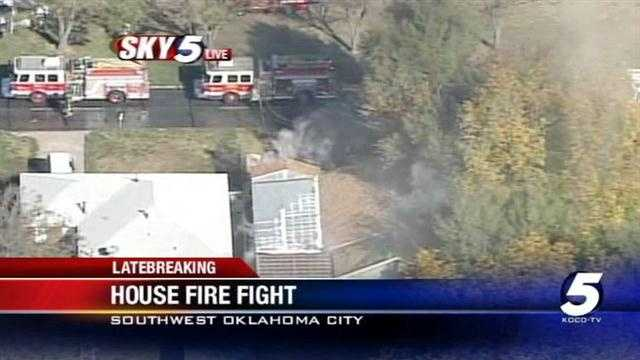 Crews are at the scene of an Oklahoma City house fire near the 2500 block of Southwest Grand Boulevard.