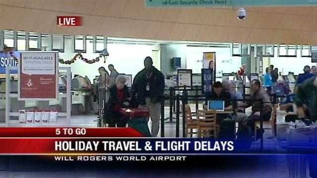 Multiple flights are delayed and cancelled at Will Rogers World Airport as the busy Thanksgiving travel rush commences.