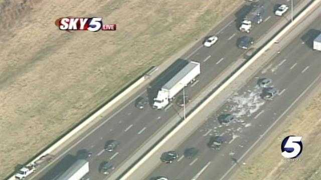Sky5 is above the scene of a jackknifed truck at I-40 and MacArthur in Oklahoma City.