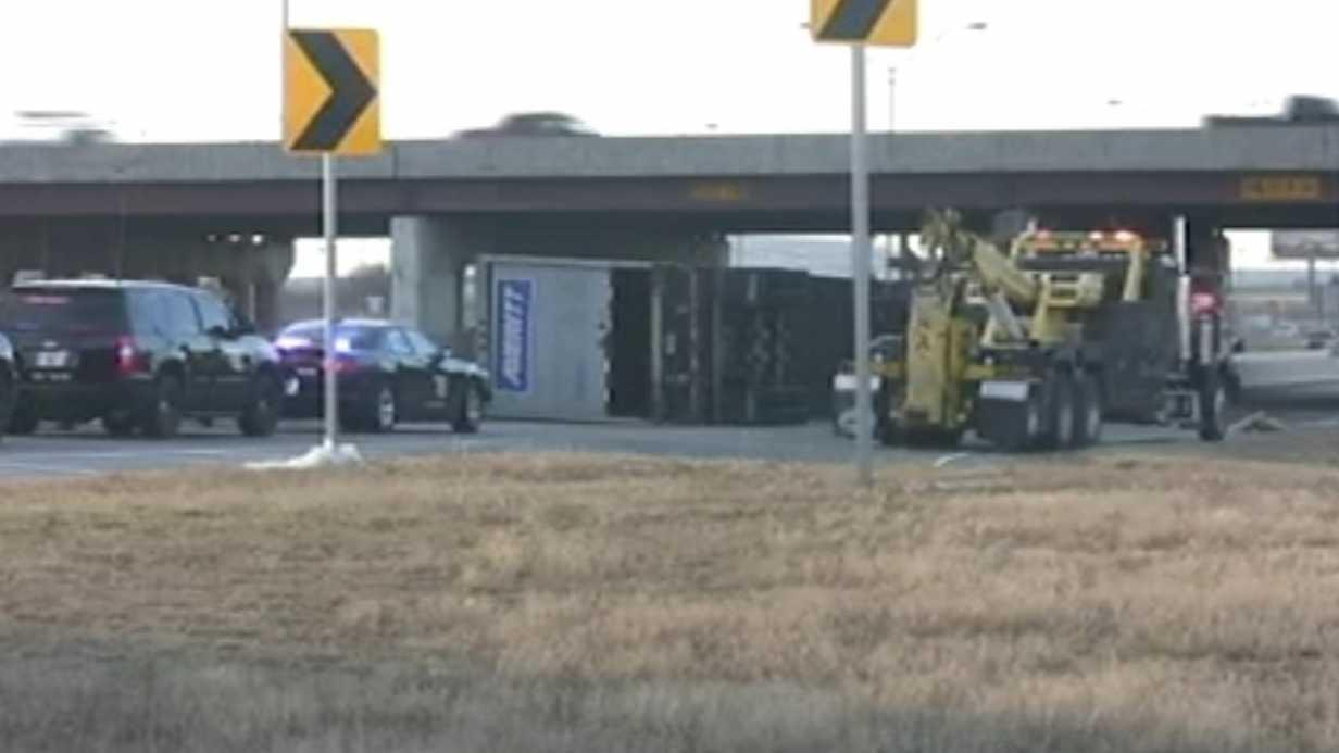 Flipped semi snarls traffic in south OKC