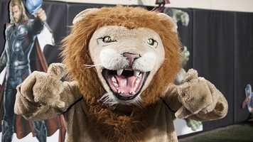 The Blanchard Lions' mascot had a busy night pumping up the crowd and cheering on the team the entire night.