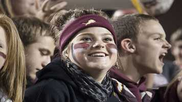 This Blanchard fan is all smiles during the Class 3A championship in which the Lions never trailed.