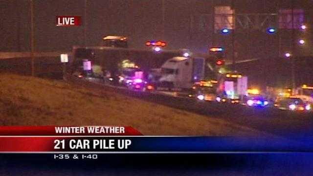 Icy road conditions resulted in this 21-vehicle crash at I-40 near Scott Street. The Department of Public Safety says I-40 has been shut down near I-35.