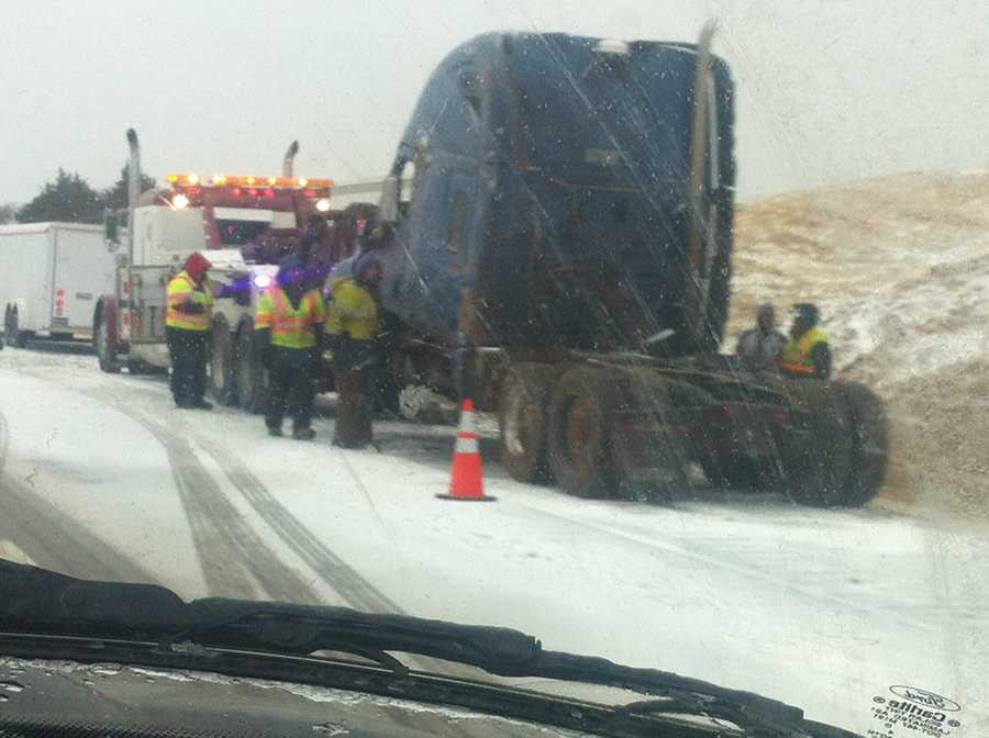 Kim Passoth (@kpassoth) snapped this photo from a semi-truck wreck near Geary.