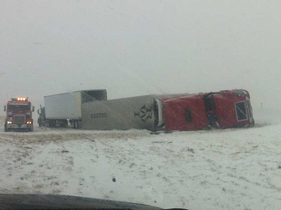A semi-trailer on its side in Weatherford. Kim Passoth (@kpassoth) sent us this photo.