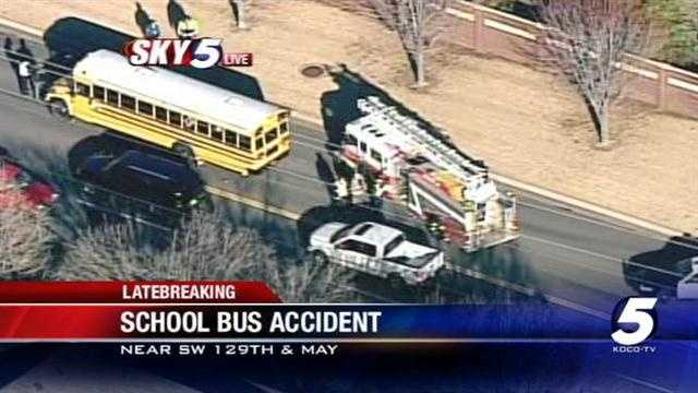 No kids were hurt in a school bus crash in southwest Oklahoma City near Southwest 129th Street and May Avenue. The bus was from Moore Public Schools.