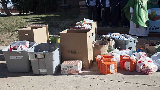 Some of the items donated were laundry detergents and nonperishable foods.