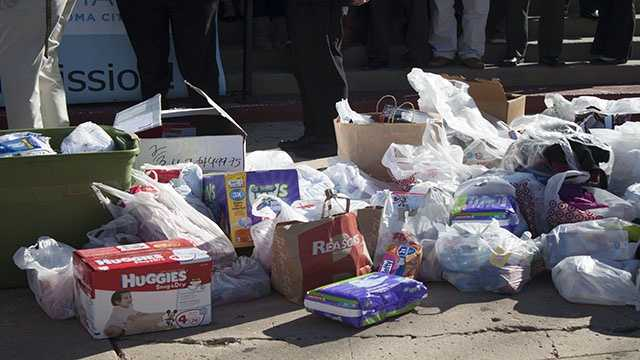 Diapers and other baby items were donated to the Catholic Charities as well.