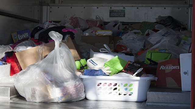 The truck was loaded with items from all four schools and officials hope to add more from those who attend the free tournament that bring donations.