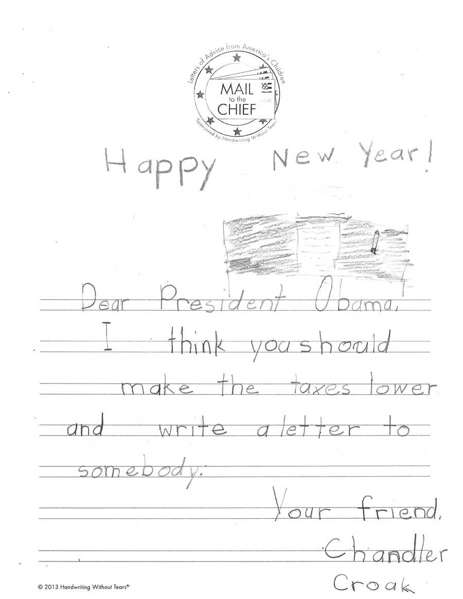 Chandler Croak says President Obama should celebrate National Handwriting Day, too!
