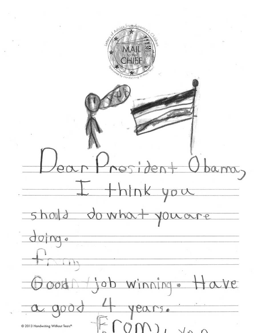 Can't quite make out the name, but this Oakdale Elementary student is all about the president's second-term agenda.