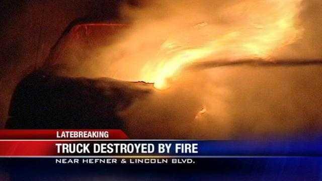 Truck destroyed by fierce fire