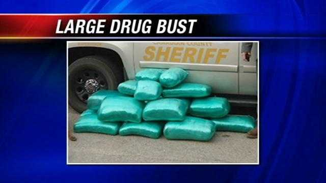 The Canadian County Sheriff's Office said it has seized more than 230 pounds of marijuana. Deputies arrested Nathan Bond and Carmelita Ousley after they made the Saturday morning stop near Banner Road and Interstate 40.