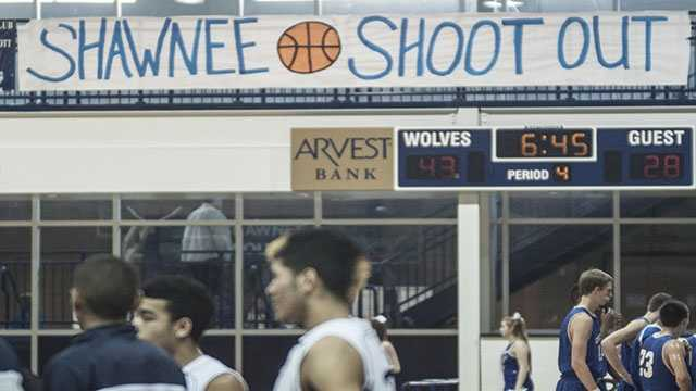 The banner that hung inside the Shawnee gymnasium during the three-day tournament.