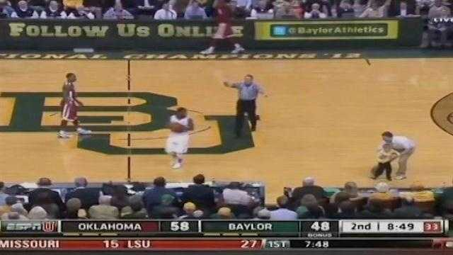 A surprise guest during the University of Oklahoma's basketball game Wednesday night has some Sooner fans talking. A Baylor fan ran onto the court during the Bears game against the OU men's team.