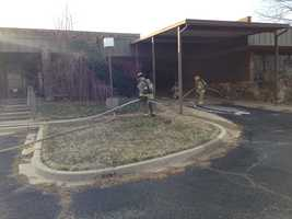 KOCO's Morgan Chesky snapped these photos from the scene of a building fire near Holly and Vandament avenues in Yukon.