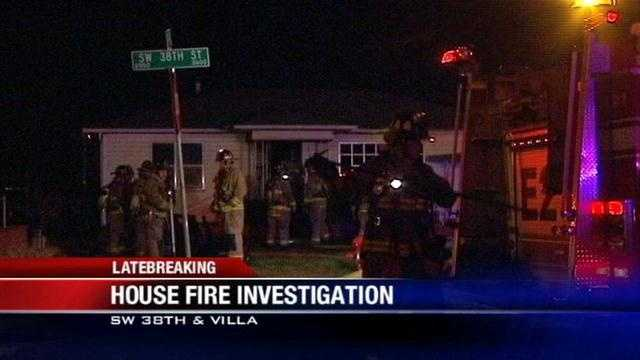 Fire crews are investigating an overnight fire. It happened at SW 38th and Villa. Investigators say it started on a couch. The home has no electricity or gas. Two people live in the home but officials haven't been able to find either of them.