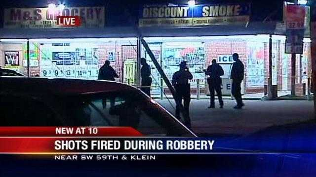 Shots fired at clerk during robbery