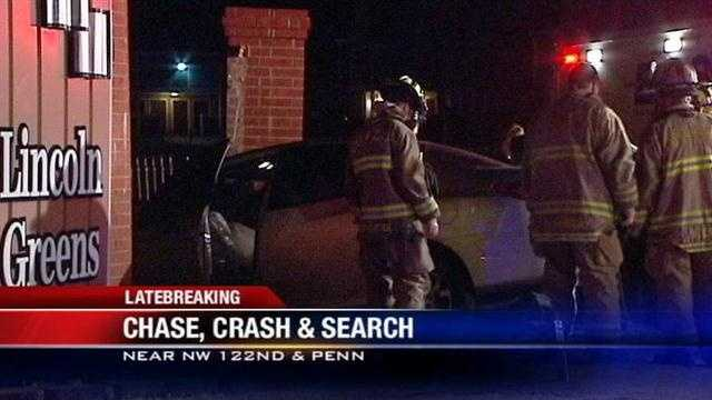 Chase and crash: Officers search for suspect