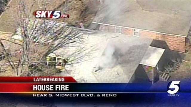 Sky5 was in the air over a house fire on Towry Drive in Midwest City, Oklahoma, on Thursday.