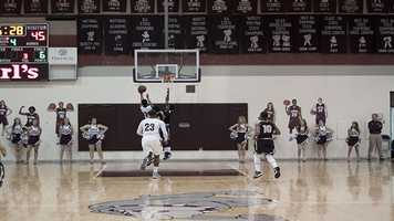 Aaron Young (20), will miss this lay-up seen here.