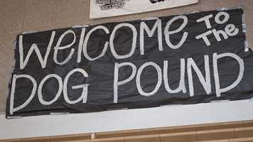 This sign hung in the gymnasium and the fans were more than happy to welcome you to their gym.