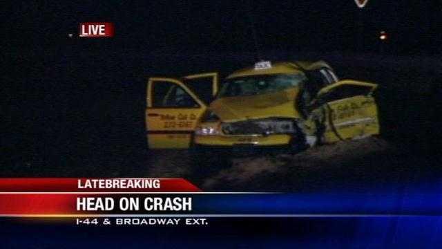 Head on crash involving taxi closes broadway extension