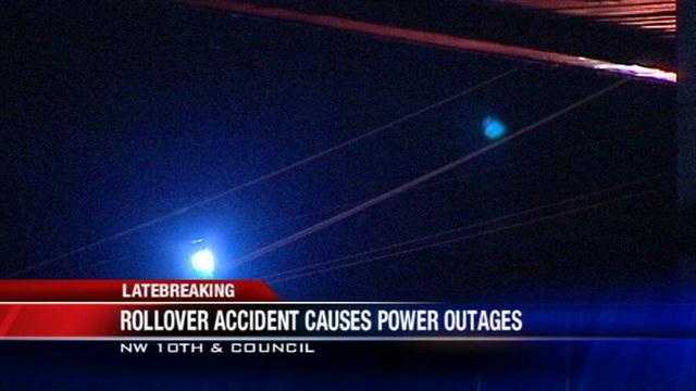 A rollover accident left nearly 2,500 people in Oklahoma City without power overnight Friday. A car hit a power line at Northwest 10th Street and Council Road knocking it to the ground and causing a chain reaction.