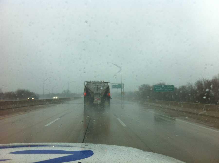 KOCO's Rob Hughes kept an eye on the roads along I-35 on Monday.