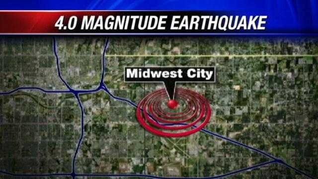 A 4.0-magnitude earthquake shook and rattled Midwest City on Wednesday afternoon, the Oklahoma Geological Survey said.